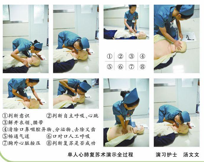 单人心肺复苏术演示全过程 图
